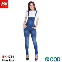 Baju Kodok Jeans Overall Wanita Celana Jumpsuit Jeans Panjang JSK 1731 - Biru Tua, 31