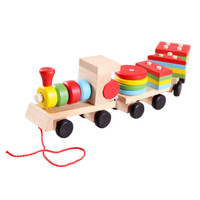 Mainan Kayu Edukatif Anak Kereta Api Susun Balok Geometri Tarik ME010