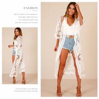 outer baju wanita white casual swimwear fashion Bonita beachwear v0065 - Putih, all size