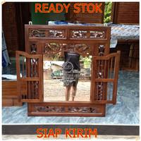 jendela cermin ukir Kayu jati | Krepyak kayu jati | Krepyak Ukir Jati