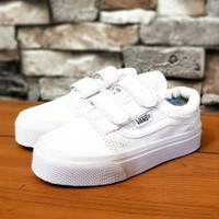 sepatu anak perempuan import vans olskool full white pelekat 16-35