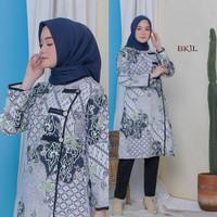 Baju Tunik Jumbo Terbaru Putih atasan Wanita Batik Kemeja Batik Blouse - motif 2, M