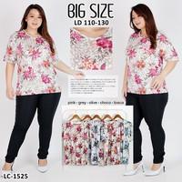 Kaos Oblong Wanita Baju Murah Atasan Motif Bunga Bunga Jumbo LC1525Big