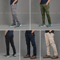 Celana Cargo Panjang Pria Ijo Army Slim Fit
