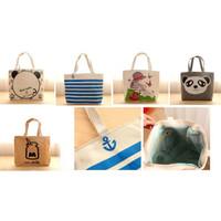 KW028 Tas Bahu Wanita Tote Kanvas Motif / Printed Canvas Shoulder Bag - Grey Panda