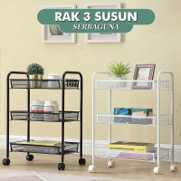 Rak Troli Roda Rak Penyimpanan/Ruang Dapur Kamar Mandi 3 Tingkat