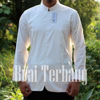 atasan baju koko pria muslim lengan panjang putih polos simpel elegan