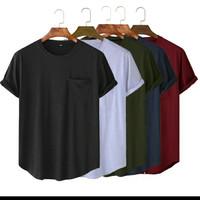 T-shirt basic pocket long line bahan distro