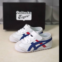 Sepatu Sneakers Anak Asics Onitsuka Kids White Blue Red Grade Original