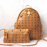 MCM Dual Stark Medium Backpack With Crossbody Pouch tas ransel ORI FO