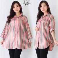 Kemeja Hem Atasan Jumbo Wanita LD 120 Baju Big Size Bahan Katun - 5120-pink