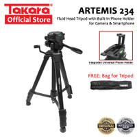 TAKARA ARTEMIS 234 Tripod Fluid Head with Built In Phone Holder HP