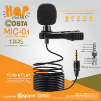 COSTA 01 Microphone Clip On 3.5mm TRRS Mic for Smartphone PC Plug Play