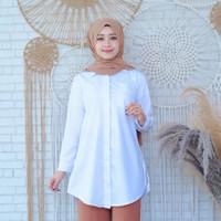 Baju Atasan Wanita Tunik/Kemeja Putih Wanita/Baju Kerja Tunik Wanita