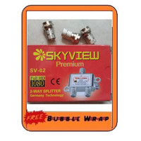Splitter antena tv cabang 2 way 1 in 2 out catv SV-02 Skyview HD 1080