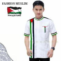 baju koko motif palestine pria/hem cowok lengen pendek/kemeja muslim