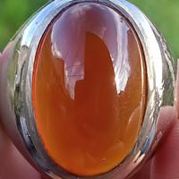 Natural Bacan Obi Redish Orange ( Cincin Batu Akik asli Pulau Obi )