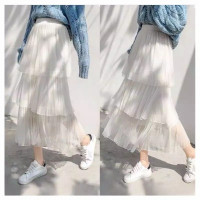 Rok Tutu Polkadot Lapis Layer Skirt Import - Putih