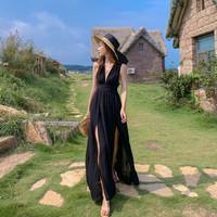 Baju pantai wanita maxi dress casual beachwear D0019