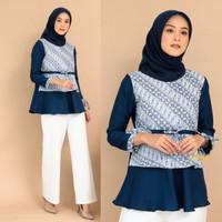 blouse batik kombinasi atasan wanita baju batik kantor jumbo murah