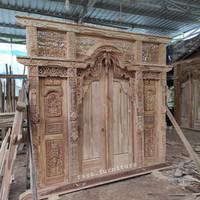 Gebyok pintu kusen gapura rumah jawa bali ukir kayu jati