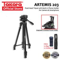 TAKARA ARTEMIS 203 Tripod Fluid Head for Camera Smartphone + Holder HP
