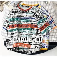 Kaos Baju Fashion Wanita Kotak Abstrak Koran Tulisan Vintage Oversize