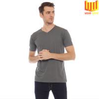 [BAMBOO COTTON] T Shirt / Kaos V Neck Polos Pria Katun Bambu