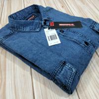 kemeja jeans denim JUMBO pria lengan pendek /SIZE XXL-XXXL-XXXXL