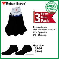 Kaos Kaki Sport Pria Robert Brown Katun Tebal 3 Pack 4238 BLACK