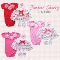 Jumper Cewek Set 3in1 - Jumper,Rok Tumpuk Cherry, Bandana Bunga Kotak