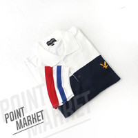 BAJU POLO LYLE AND SCOOT PUTIH NAVY - L