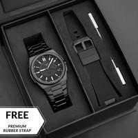 Jam Tangan Pria Analog Zinvo Rival Black + Premium Rubber Strap - Hitam
