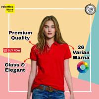 Kaos Kerah Wanita Polo Shirt Wanita Kaos Polo Wanita Cewe Merah/Red