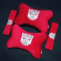 Bantal Jok Mobil 2in1 Transformer Warna Merah Headrest Sandaran Kepala