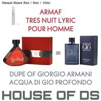Decant 5ml Armaf Tres Nuit Lyric Men EDP (Dupe Acqua di Gio Profondo)