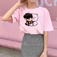 Baju Kaos Atasan Tshirt Katun Wanita Chibi Jin BT21 BTS Cewek Import