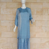 gamis batik dobby premium biru