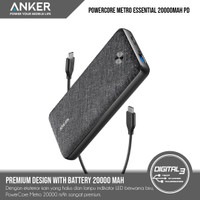 Anker Powerbank PowerCore Metro Essential 20000mAh PD New Fabric A1281 - Hitam