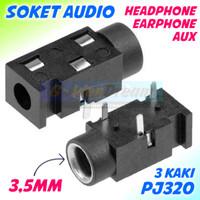 PJ320 Soket Audio 3.5mm 3 Pin Ear Head Phone Plug Aux Socket PJ320B