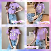 PROMO Baju Kaos Crop Top Lilac Series Lengan Pendek Wanita Murah