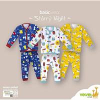 Velvet Setelan Baju Tidur Piyama Panjang Kancing Depan Bayi Newborn NB