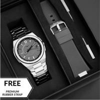 Jam Tangan Pria Analog Zinvo Rival Silver + Premium Rubber Strap - Silver