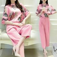 Baju Pakaian Setelan set Celana casual fashion wanita cewek kekinian