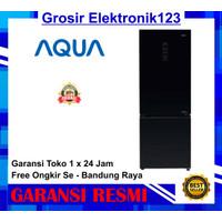 kulkas aqua 2 pintu freezer bawah aqr 320 RBG BK low Watt inverter