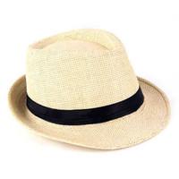 Topi Fedora Gaya Musisi Jazz Vintage - beige