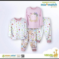 VELVET JUNIOR Cotton bamboo mix&match piyama girl baju tidur anak