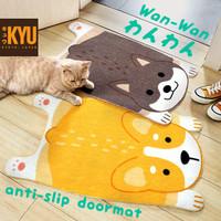 KYU Wan-Wan Keset PVC Anti Selip 45 x 75 / Anti-Slip Doormat / Carpet - Cokelat