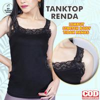 TANGTOP / TENKTOP WANITA / TENTOP WANITA / TANK TOP TALI RENDA - Hitam, Jumbo Fit XXL