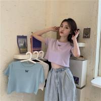PROMO Baju Kaos Crop Top Yela Butterfly Wanita Korea Murah